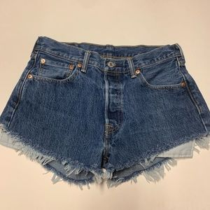 Levi's 501 Distressed High Waisted Cut off Shorts